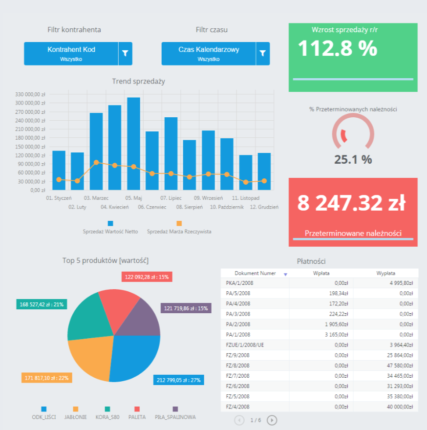 Comarch BI Cloud dashboard